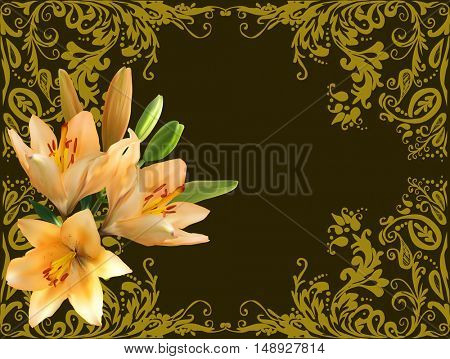 illustration with group of lily flowers in gold frame