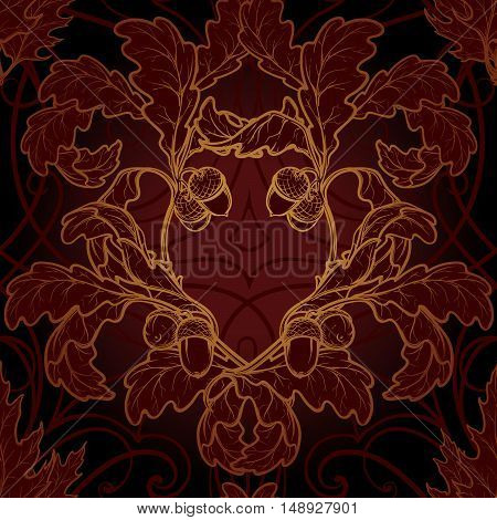 Autumn oak trees leaves. Detailed intricate hand drawing. Luxurious gold, reach floral ornament. Seamless pattern. EPS10 vector illustration.