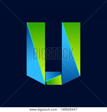 U letter line colorful logo. Abstract trendy green and blue vector design template elements for your application or corporate identity.