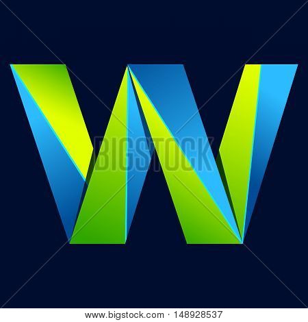 W letter line colorful logo. Abstract trendy green and blue vector design template elements for your application or corporate identity.