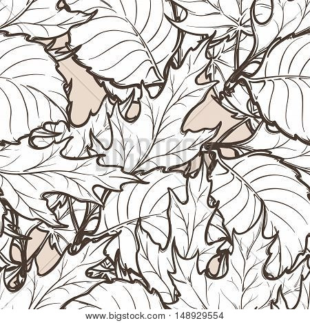 Autumn red and orange deciduous trees leaves. Detailed intricate hand drawing. Chaotic distribution of elements. Seamless pattern. EPS10 vector illustration.