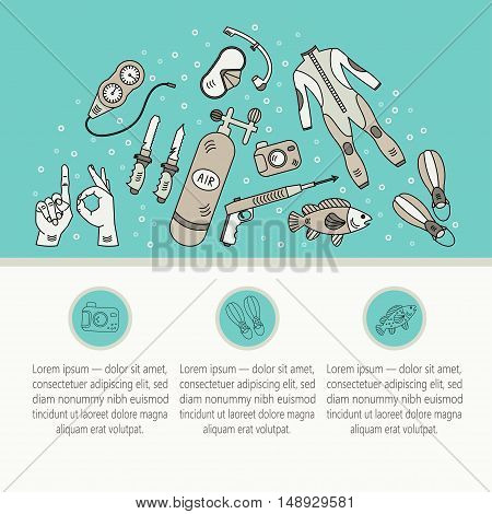 Vector card with diving equipment. Diving line icons of scuba, oxygen balloon, diver knife, harpoon, spear gun, gauge, camera. Diving web template.