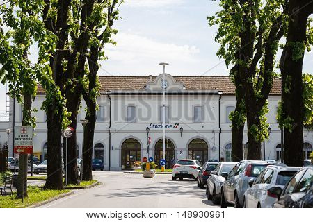 Cittadella Italy - May 05 2016: The main building of Railroad Station spring time