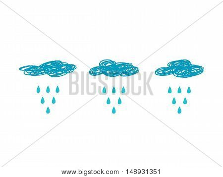 Blue Clouds and Rain background, vector illustration
