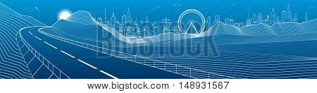 Highway in mountains, night panorama, neon city skyline and ferris wheel on background, white lines landscape, vector design art