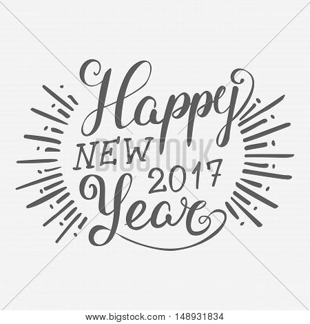 Happy New 2016 Year. Holiday Vector Illustration With Lettering Composition with burst
