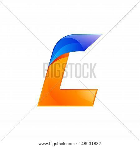 L letter blue and Orange logo design Fast speed design template elements for application.
