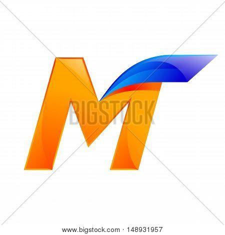 M letter blue and Orange logo design Fast speed design template elements for application.