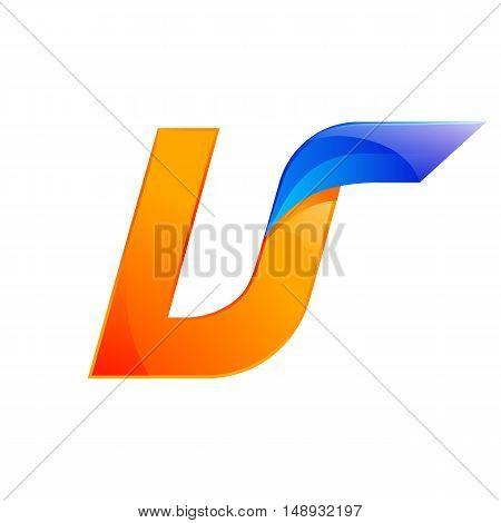 U letter blue and Orange logo design Fast speed design template elements for application.
