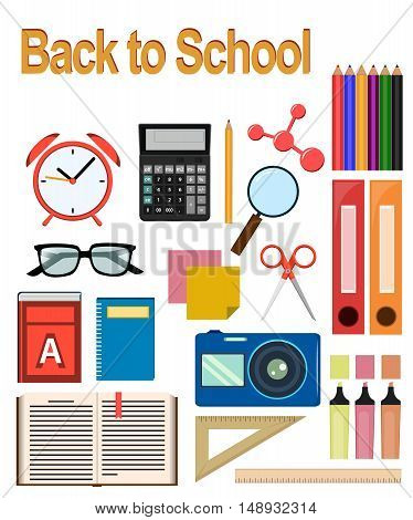 Back to study. Objects for school. Set of round flat icons. Vector Illustrations.