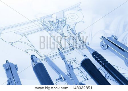 drawings of architectural details - columns element, and tools - compasses, mechanical pencils