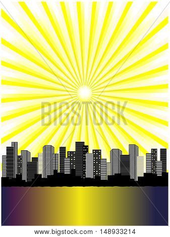 Vector sun above city - illustration, abstract background