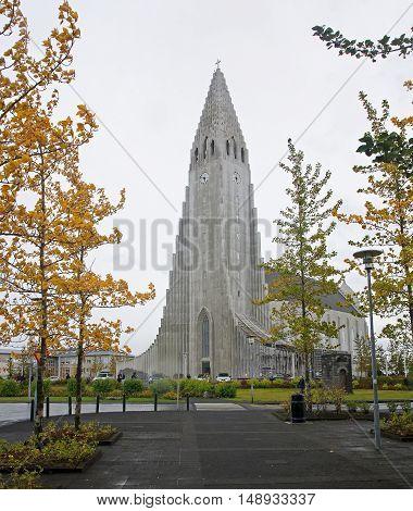 Hallgrimskirkja church in center of Reykiavik (Iceland)