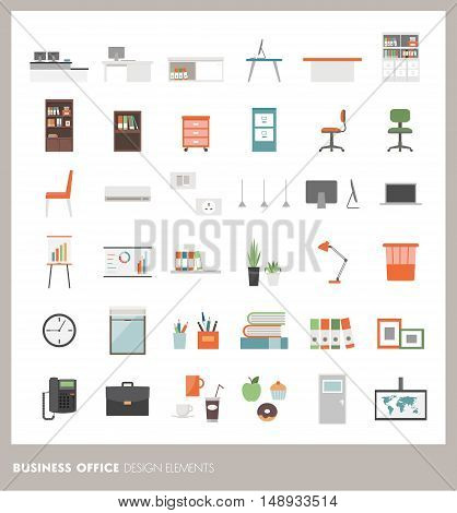 Business office icons set: objects furnishings decorations and electronics