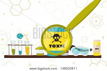 Colorful illustration with scientific instruments and equipment for research. Vector illustration
