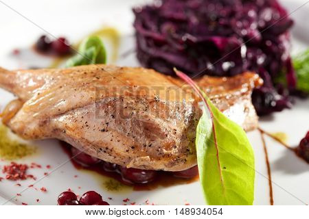 Duck Leg with Beetroot Salad