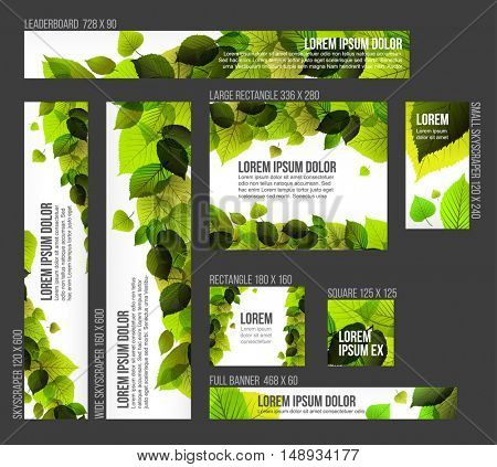 8 Standard size spring banner templates with fresh leaves