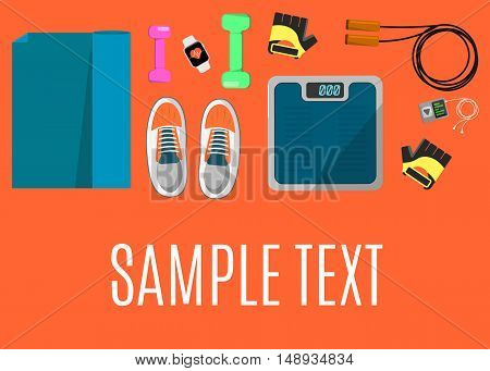 Vector illustration of gym sports equipment banner. Skipping rope, sports shoes, gloves, tracker bracelet, dumbbells and weigher on orange background. Different tools for sport. Space for your text
