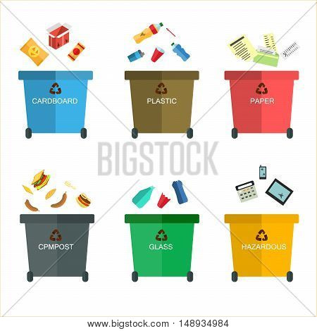 Garbage Cans Vector Flat Illustrations. Many   With Sorted . Sorting . Ecology And Recycle Concept.