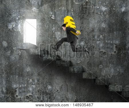 Man Carrying Golden Euro Symbol Running On Old Concrete Stairs