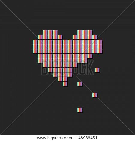 Illustration Of Heart Symbol In Pixel Art Style