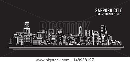 Cityscape Building Line art Vector Illustration design - Sapporo City