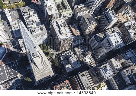 San Francisco, California, USA - September 19, 2016:  Aerial view of San Francisco financial district office towers.