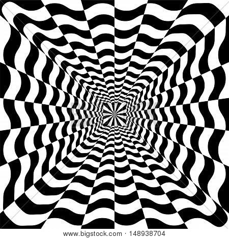 Vector Illustration. Black and White Wavy Spirals Expanding from the Center. Optical Illusion of Perspective and Volume.