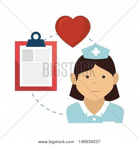 avatar woman nurse medical assitance with report medicine table and red heart icon. colorful design. vector illustration