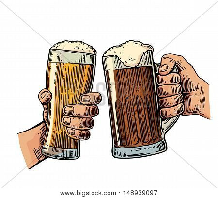 Two hands holding and clinking with two beer glasses mug. Vintage vector color engraving illustration for web poster invitation to beer party. Isolated on white background.