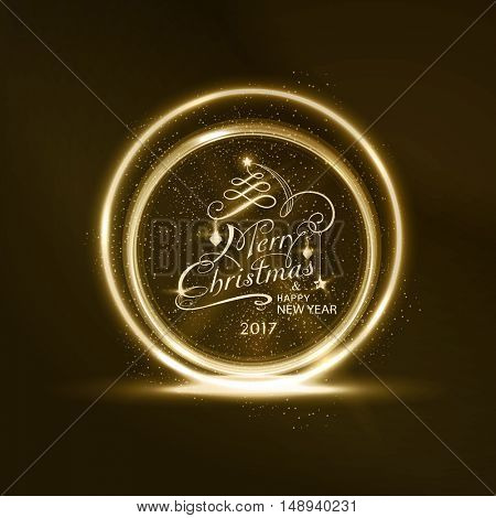 Round golden glowing frame with Merry Christmas and Happy New Year 2017 typography and light effects for a soft, sparkling and shiny holiday season design.