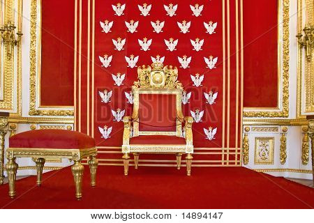 Throne of Polish king. Royal castle in Warsaw. World Heritage List UNESCO. poster