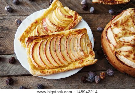 Homemade Organic Ruddy Pies With Apples Puff Pastry, Ready To Ea