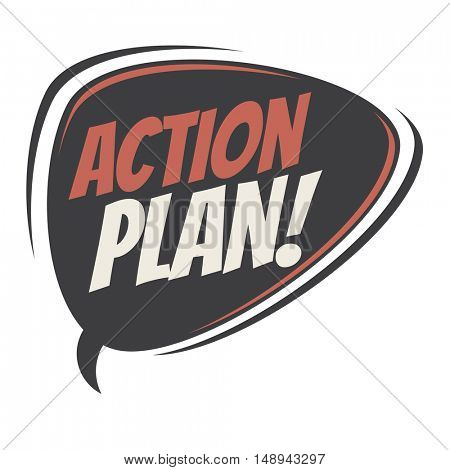 action plan retro speech balloon
