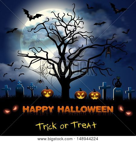 Spooky card for Halloween. blue background with full moon, tombstones, spider, cat and bats. Halloween Party with pumpkins. Vector Illustration.