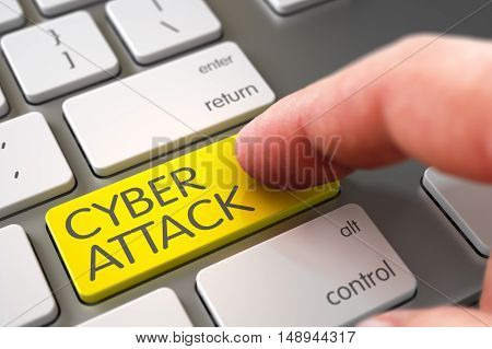 Finger Pushing Cyber Attack Yellow Key on Modernized Keyboard. 3D Illustration.