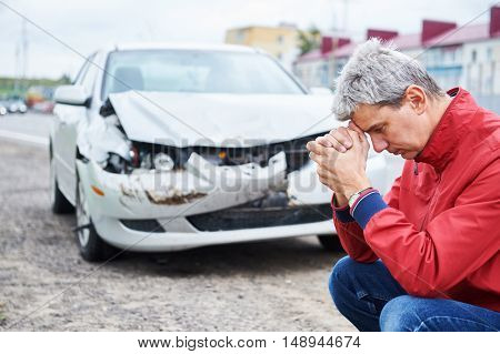 upset man after wreck car crash