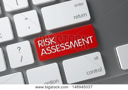 Concept of Risk Assessment, with Risk Assessment on Red Enter Keypad on Metallic Keyboard. 3D Illustration.