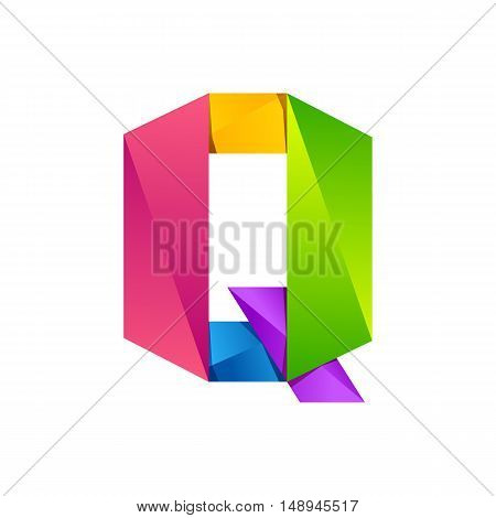 Q letter one line colorful logo. Vector design template elements an icon for your application or company