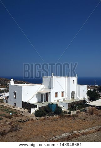 Greek Island Sifnos view of Aegean Mediterranean Sea with typical Cyclades house of white block architecture
