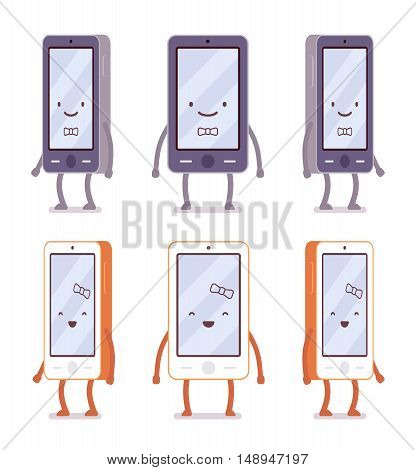 Smiling boy and girl smartphones from different sides with legs and hands isolated against white background. Cartoon vector flat-style illustration