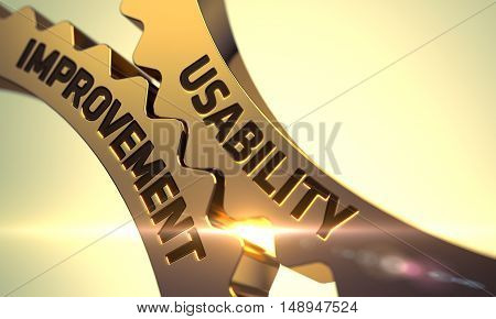 Usability Improvement on the Golden Metallic Cogwheels. 3D.