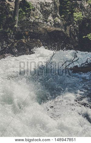 Wild River Stream With Splashing Water