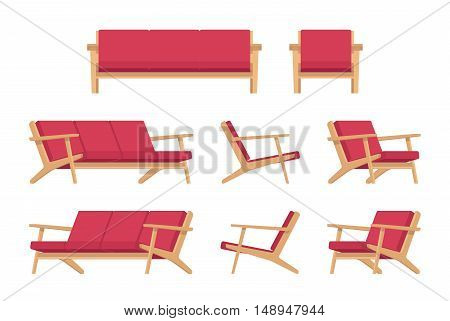Set of retro red divan and armchair isolated against white background. Cartoon vector flat-style illustration
