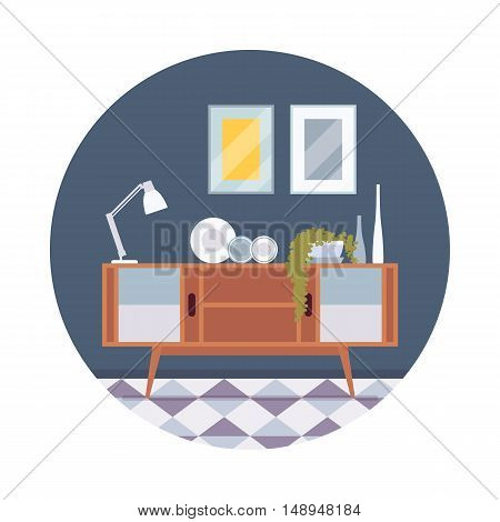 Retro interior with a sideboard bookcase, pictures, lamp in a circle. Cartoon vector flat-style illustration