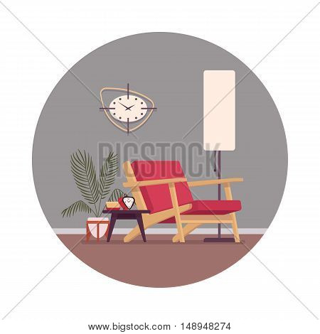 Retro interior in a circle with a divan, standing lamp, wallclocks. Cartoon vector flat-style illustration