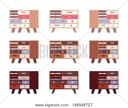 Set of high retro sideboards with drawers and bookshelves isolated against white background. Cartoon vector flat-style illustration
