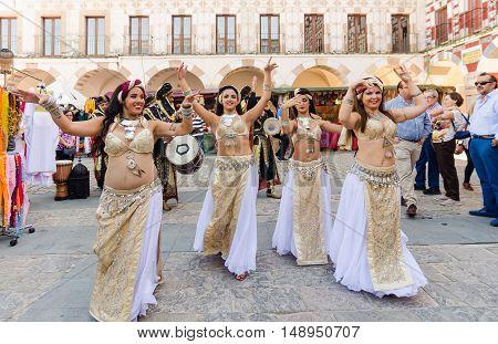 Badajoz Spain - September 23 2016: Bellydancer in the celebration of Almossassa in the city of Badajoz Extremadura Badajoz
