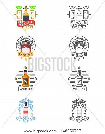 Alcohol drinks logo set. Whiskey and tequila, vodka and liquor labels for restaurants and bars. Label or emblem for alcohol beverage, illustration for alcohol menu
