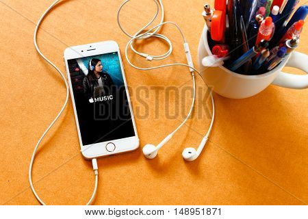 LAMPHUN SEPTEMBER 16 2016: Screenshot of Apple's music app on iPhone shows Apple. According to the new songs in the iTunes-based music streaming service that arrived on iPhone.